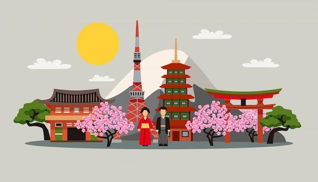 Япония символы композиция плоский плакат