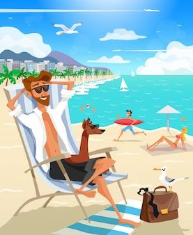 夏の休日の男のビーチ