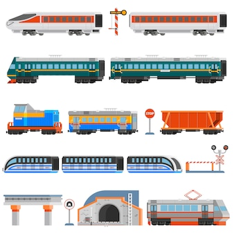 Железнодорожный транспорт плоский красочные иконки набор