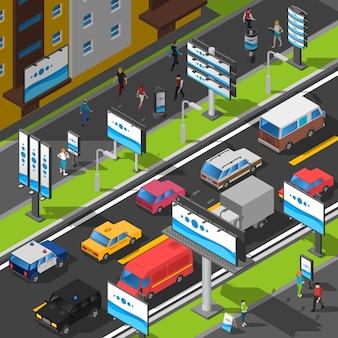 ストリート広告の等角投影図