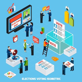Выборы и голосование изометрические композиции