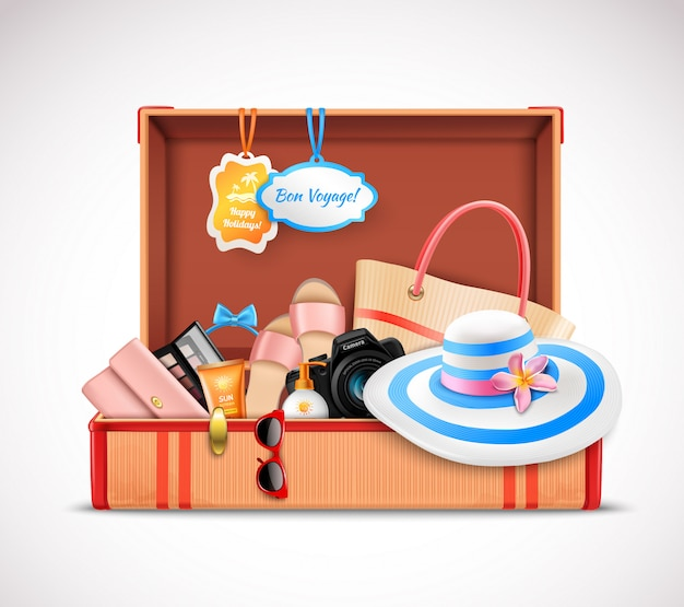 Ретро чемодан для отпуска с открытым багажом реалистичный