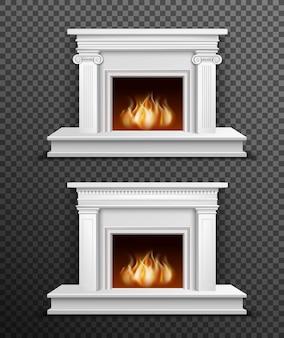 透明な背景に室内暖炉セット