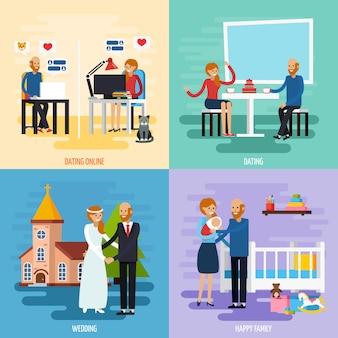 Семейные отношения набор иконок символов