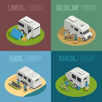 Набор иконок концепции транспортных средств для отдыха с символами кемпинга