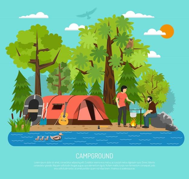 キャンプ場レクリエーション家族夏のテントポスター