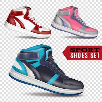 Цветная спортивная обувь на прозрачном фоне