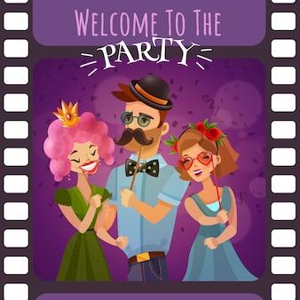 パーティーの招待状付き写真フィルムのフレーム