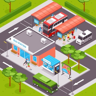 Автовокзал изометрические иллюстрация