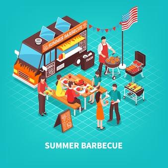 Лето барбекю изометрические иллюстрация