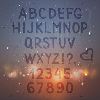 Цветные руки нарисованные реалистичные алфавит и цифры на композицию запотевшего стекла с фонариками