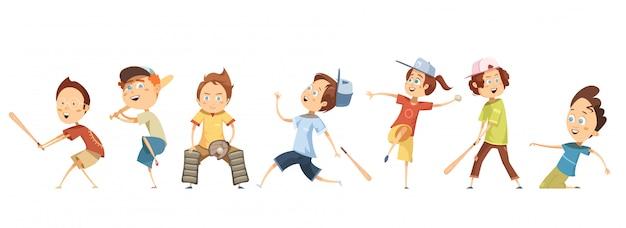 フラット野球をしているさまざまなポーズで面白い漫画子供キャラクターのセット