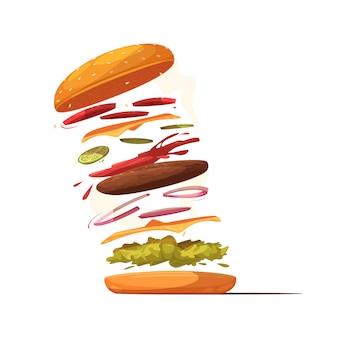 Дизайн ингредиентов гамбургера с говяжьей котлетой, сыром, ломтиками овощей, салатной булочкой с кунжутом и кетчупом