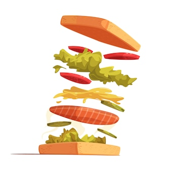 Композиция ингредиентов сэндвича с хлебом, нарезанными красными овощами, листьями салата и горчичным соусом