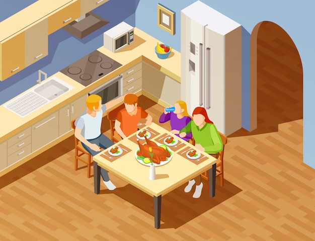 キッチン等尺性画像で家族でのディナー