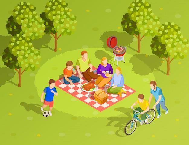 家族の夏の田園地帯ピクニックアイソメビュー