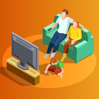 Семья смотрит телевизор домой изометрические изображения