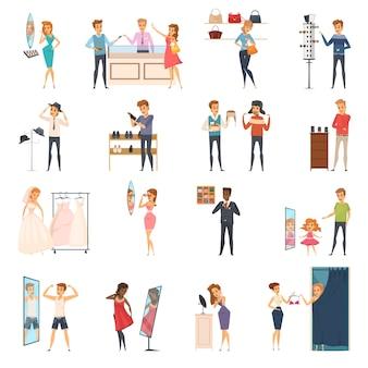 Цветные и изолированные пытаясь магазин плоских людей значок с примерять одежду в магазине