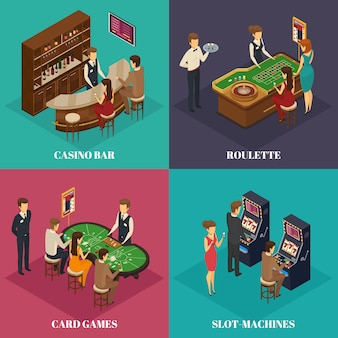 Изометрическая композиция для четырех квадратов казино с описанием карточных игр в рулетку и игровых автоматов.
