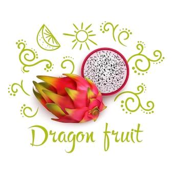 ドラゴンフルーツの周りのいたずら書き