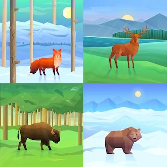 動物の背景セット