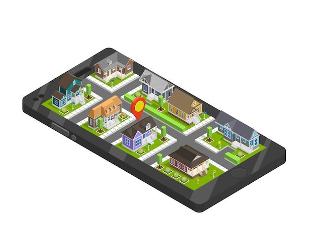町の建物のスマートフォンのコンセプト