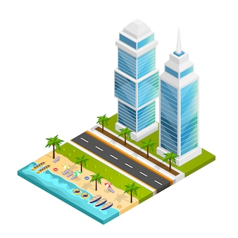 街とビーチのコンセプト