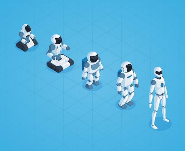 Эволюция роботов изометрический дизайн