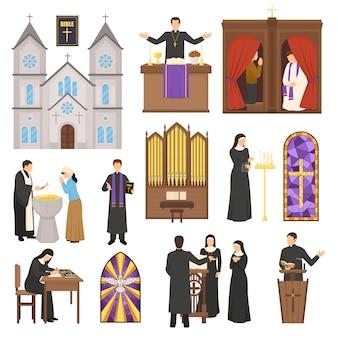 宗教大聖堂のインテリアセット