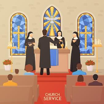 Церковная служба религиозная церемония плоский баннер