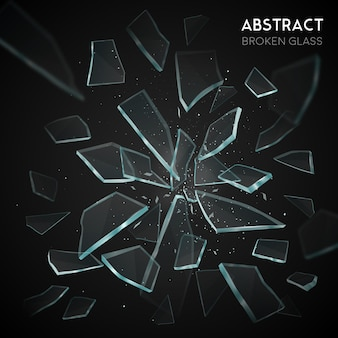 壊れたガラス飛ぶ断片暗い背景