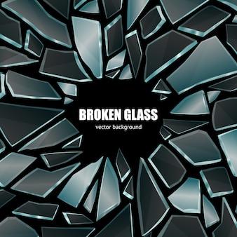 壊れた黒いガラス背景ポスター