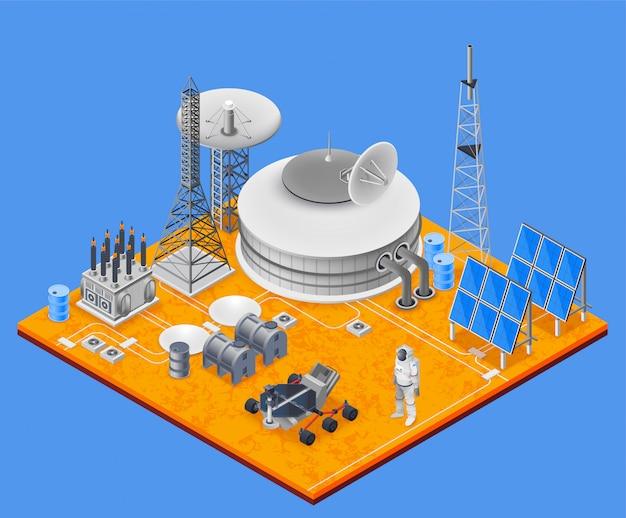 Космическая станция изометрические концепция