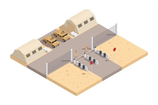 Военно-изометрическая композиция с охраняемой военной базой и необходимым оборудованием, векторная иллюстрация