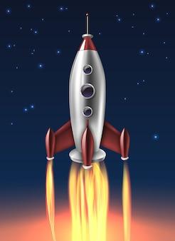 現実的な金属ロケット打ち上げ背景ポスター