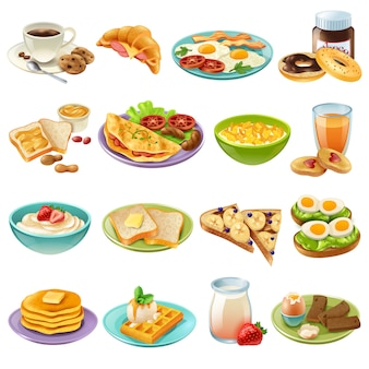 Завтрак бранч меню еда иконки набор