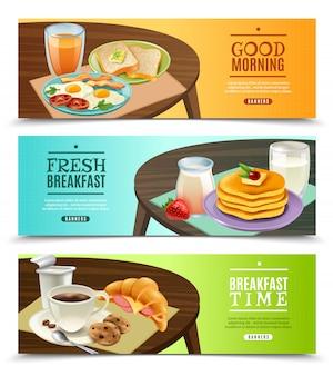 朝食の水平方向のバナーセット