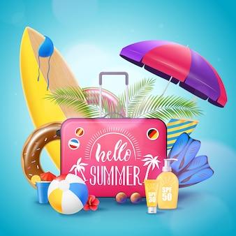 Летний пляж отпуск фоновый плакат