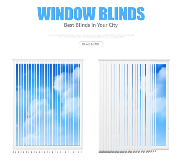 Два окна с жалюзи с видом на облачное небо