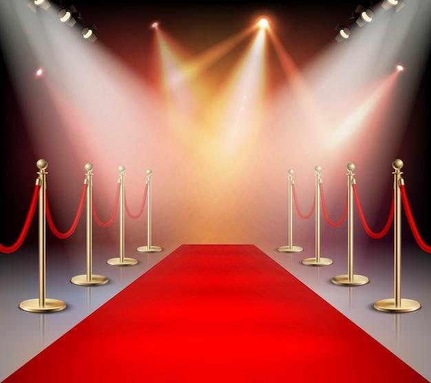 Красная ковровая дорожка в композиции освещения