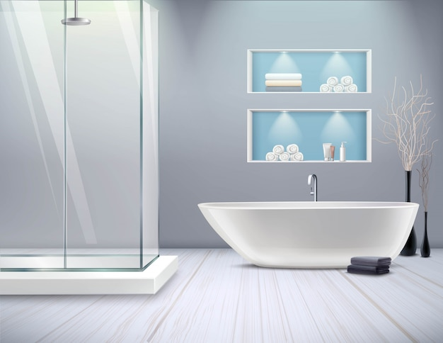 Реалистичный интерьер ванной комнаты
