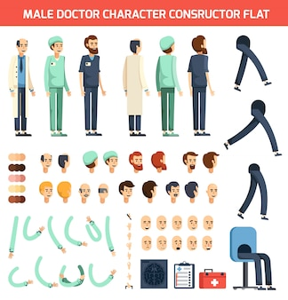 男性医師キャラクターコンストラクタフラット