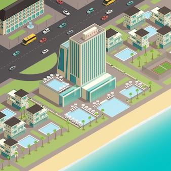Изометрический фрагмент городского пейзажа
