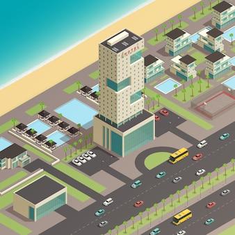 Изометрическая южная городская строительная композиция