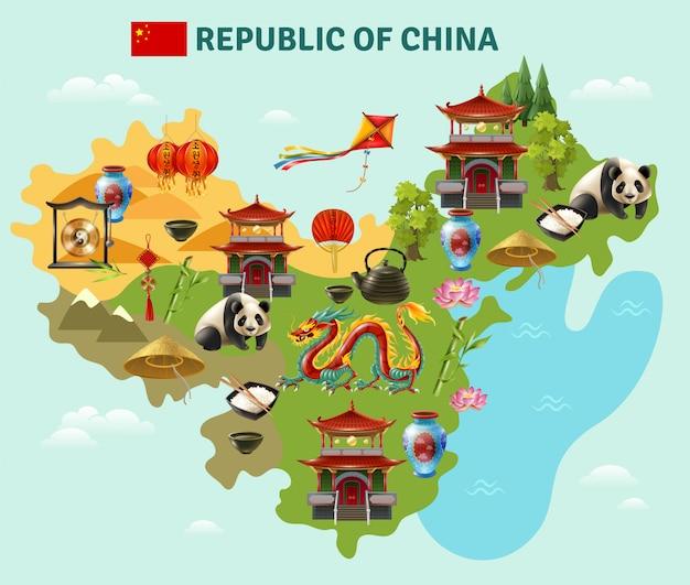 Китай путешествие достопримечательности карта плакат