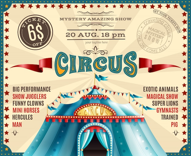 Цирковое представление объявление ретро плакат