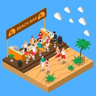 Пляжный бар изометрическая композиция
