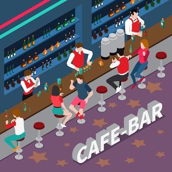 Кафе-бар изометрическая композиция