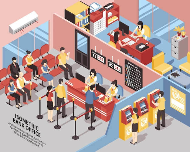 Банк офис изометрические иллюстрация