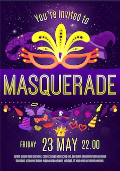 仮面舞踏会の夜のお祝いの招待状のポスター